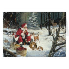 Beagle Christmas Card Santa Woods