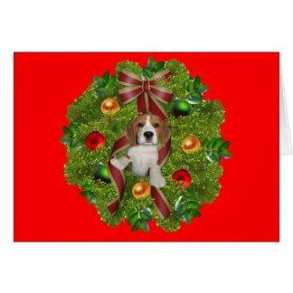 Beagle Christmas Card Wreath