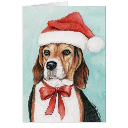 Beagle Christmas Dog Art Greeting Card