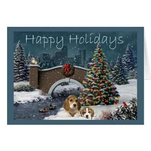 Beagle Christmas Evening Greeting Card