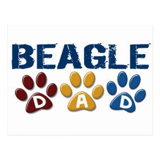 BEAGLE DAD Paw Print Post Card