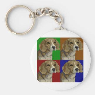 Beagle Dark Primary Color Collage Key Ring