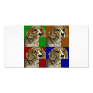 Beagle Dark Primary Color Collage Photo Cards