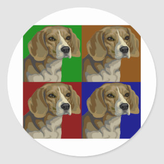 Beagle Dark Primary Color Collage Round Sticker