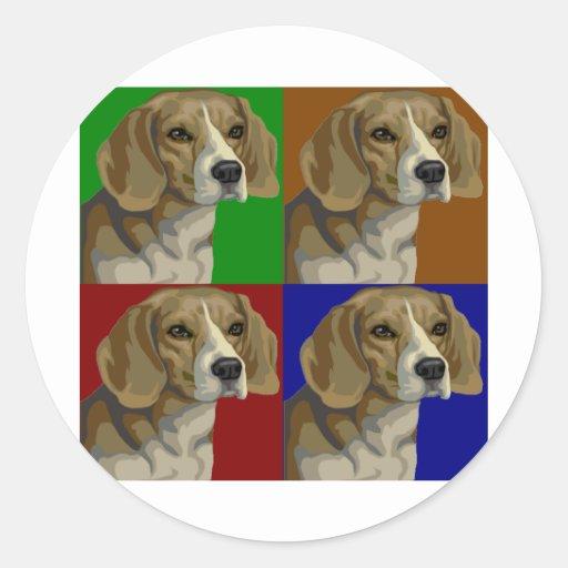 Beagle Dark Primary Color Collage Round Stickers