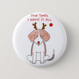 Beagle Dear Santa 6 Cm Round Badge