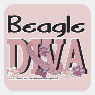 Beagle DIVA Square Sticker