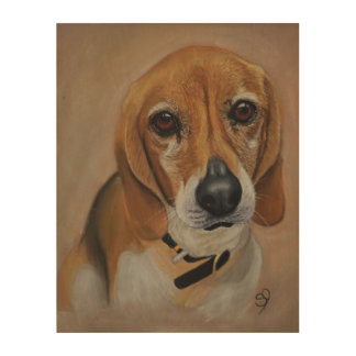 Beagle dog artwork pet portrait wood print