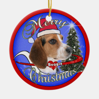 BEAGLE DOG CHRISTMAS ORNAMENT - SANTA HAT