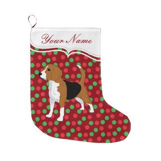 Beagle Dog Christmas Red Dots Personalized Large Christmas Stocking