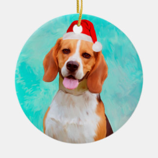 Beagle Dog Christmas Santa Hat Portrait Christmas Ornament