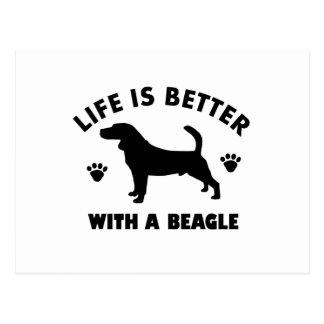 beagle dog design postcard