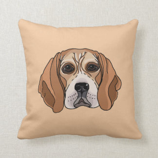Beagle Dog Illustration Pillow