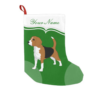 Beagle Dog Lovers Christmas Green Personalized Small Christmas Stocking