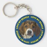 Beagle Dog Portrait, Love My Beagle Basic Round Button Key Ring
