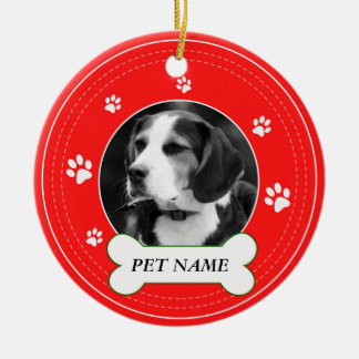 Beagle Dog Red Paws Print Ceramic Ornament