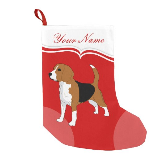 Beagle Dog Red Solid Personalised Small Christmas Stocking