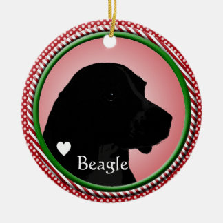 BEAGLE DOG SILHOUETTE CHRISTMAS ORNAMENT