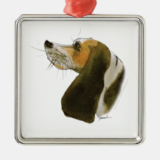 Beagle dog, tony fernandes Silver-Colored square decoration