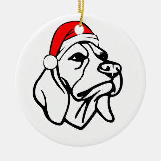 Beagle Dog with Christmas Santa Hat Christmas Ornament