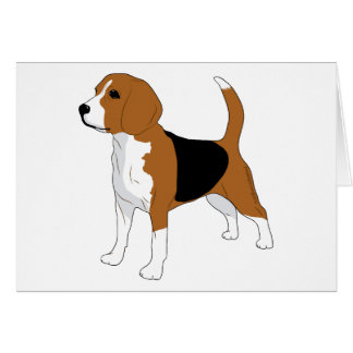 Beagle Drawing Standing Dog Card