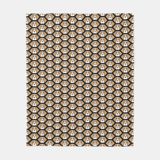 Beagle Face Honeycomb Pattern Fleece Blanket