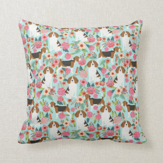 beagle floral dog pillow mint