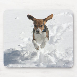 Beagle Flying in the Snow Mouse Mat