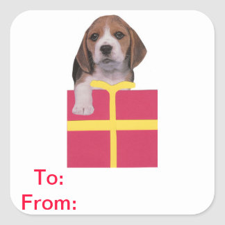 Beagle Gift Tags To and From Sticker