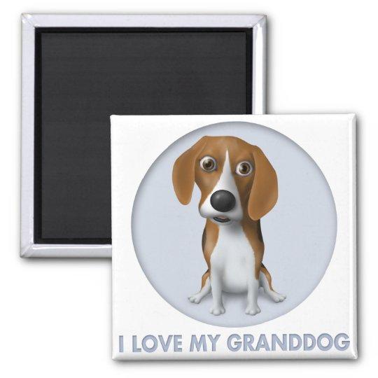 Beagle Granddog Square Magnet