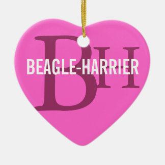 Beagle-Harrier Breed Monogram Ceramic Heart Decoration