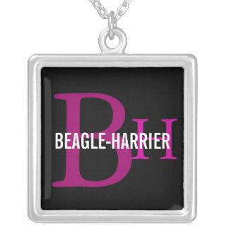 Beagle-Harrier Breed Monogram Square Pendant Necklace