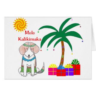 Beagle Hawaiian Christmas Greeting Card