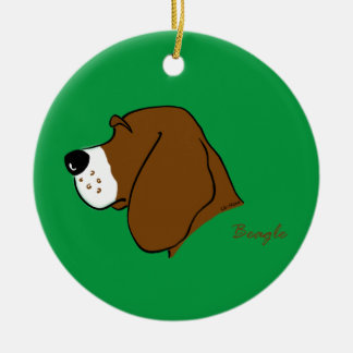 Beagle head silhouette christmas ornament