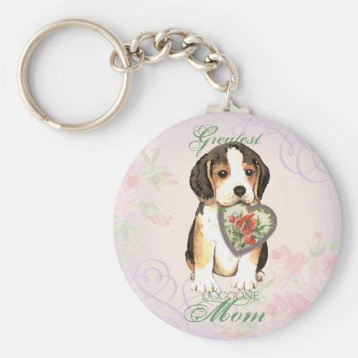 Beagle Heart Mom Keychains