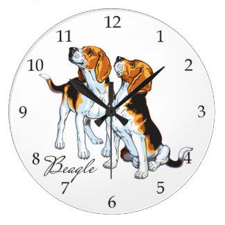 beagle hounds large clock