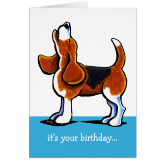 Beagle Howling Funny Birthday Card