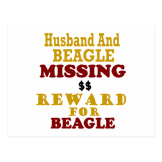 Beagle & Husband Missing Reward For Beagle Postcard