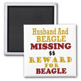 Beagle & Husband Missing Reward For Beagle Square Magnet