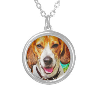 Beagle in Oil Round Pendant Necklace