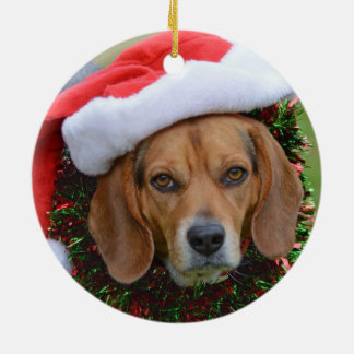 Beagle In Santa Hat & Christmas Garland Christmas Ornament