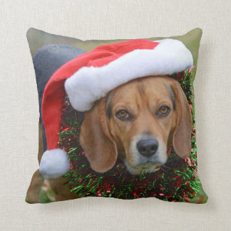 Beagle In Santa Hat & Christmas Garland Cushion