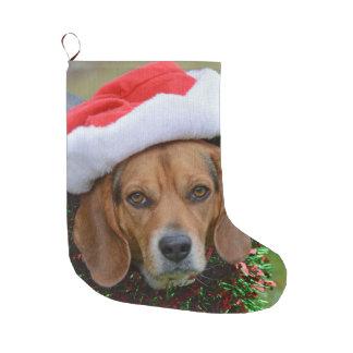 Beagle In Santa Hat & Christmas Garland Large Christmas Stocking