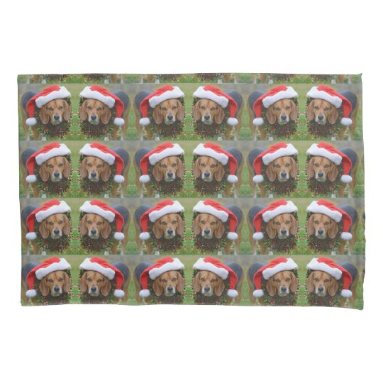Beagle In Santa Hat & Christmas Garland Pillowcase