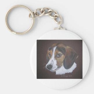 Beagle Basic Round Button Key Ring