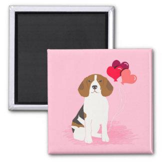 Beagle Love Balloons Magnet