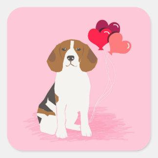 Beagle Love balloons sticker - cute dog