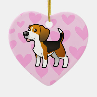 Beagle Love Ceramic Heart Decoration
