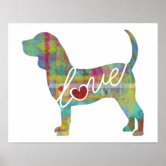 Beagle Love Watercolor Poster