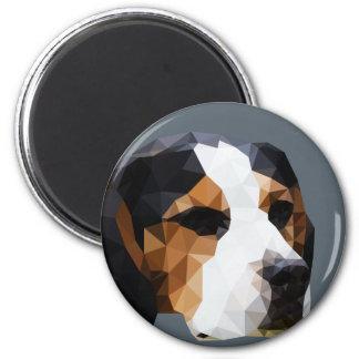 Beagle Low Poly Art 6 Cm Round Magnet